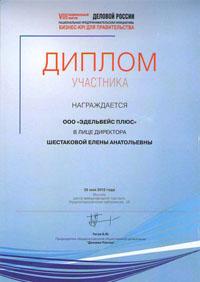 Диплом участника 8-го национального форума Деловой России - НАЦИОНАЛЬНАЯ ПРЕДПРИНИМАТЕЛЬСКАЯ ИНИЦИАТИВА (Москва, 2012)